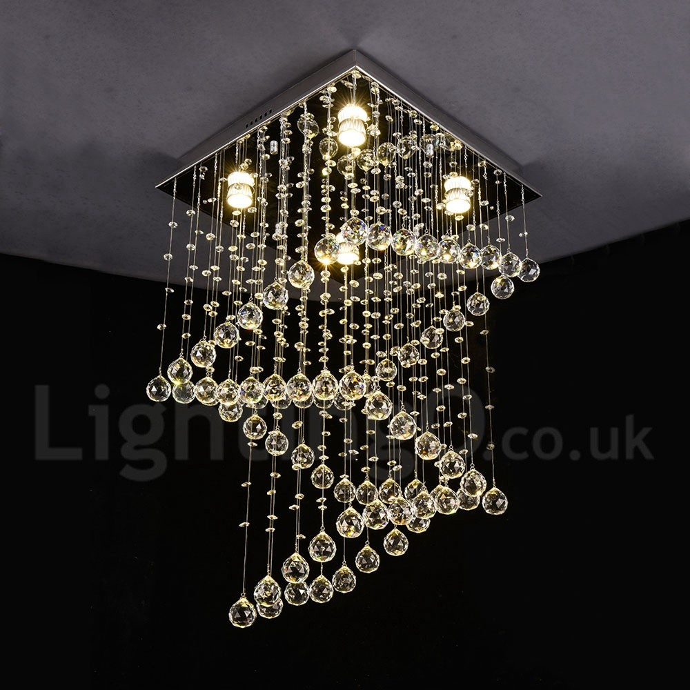 4 lights modern led crystal ceiling pendant light indoor chandeliers home hanging down lighting lamps fixtures