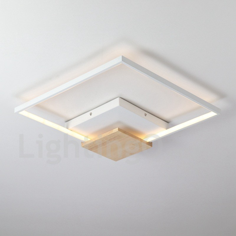 huge discount e20a6 0e502 Dimmable White Square Wood Ceiling Light LED Ultrathin Ceiling Lamp Also  Can Be Used As Wall Light for Living Room, Bedroom, Dinner Room