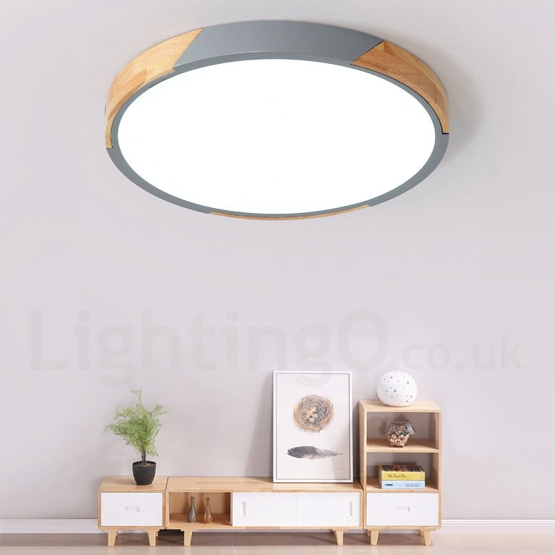 Dimmable Macaron Multi Colours Wood Ultra Thin Ceiling