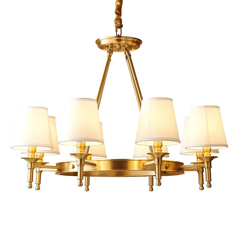 Pure Brass Round Chandelier Pendant Lights Traditional Classic for Bedroom,  Dining Room, Kitchen, Study Room, Office