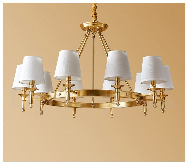 Pure Brass Round Chandelier Pendant Lights Traditional