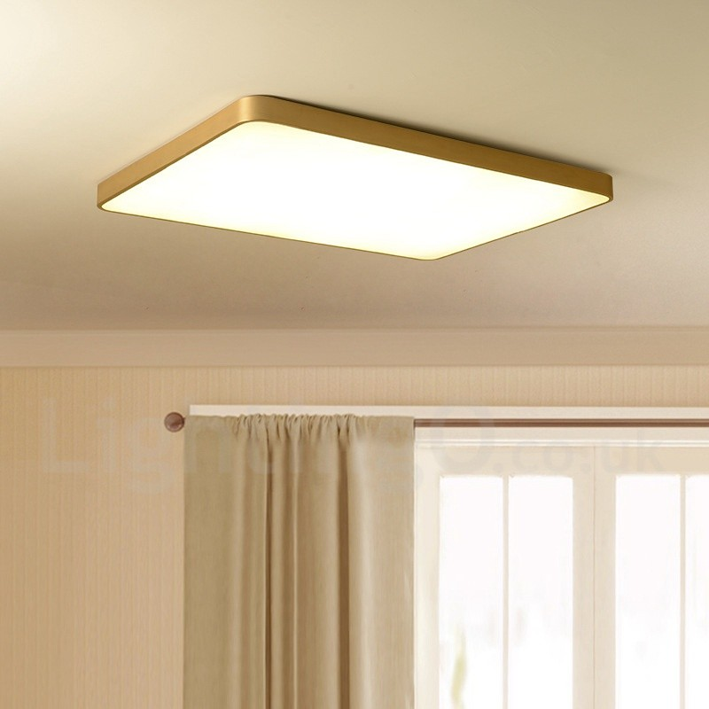 f5d0154ece7c ... Ultra-Thin Rectangle Dimmable LED Modern / Contemporary Nordic Style Flush  Mount Brass Ceiling Lights ...