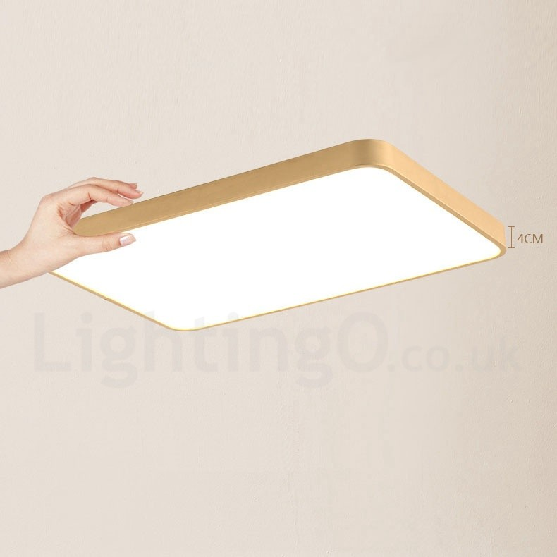 Ultra-Thin Rectangle Dimmable LED Modern / Contemporary Nordic Style Flush  Mount Brass Ceiling Lights with Acrylic Shade for Bathroom, Living Room,