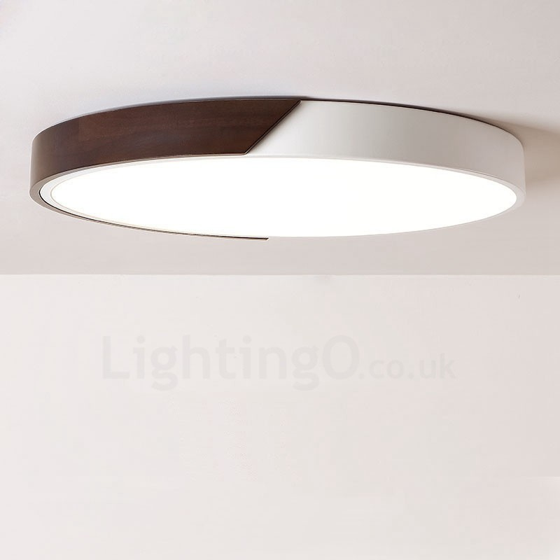 Retro Walnut Colour Wood Ultra Thin Round Dimmable Led