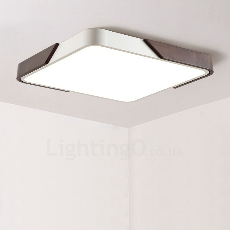 Retro Walnut Colour Wood Ultra Thin Square Dimmable Led Flush Mount Ceiling Lights With Acrylic Shade For Bathroom Living Room Study Kitchen Bedroom Dining Room Bar Also Can Be Used As Wall