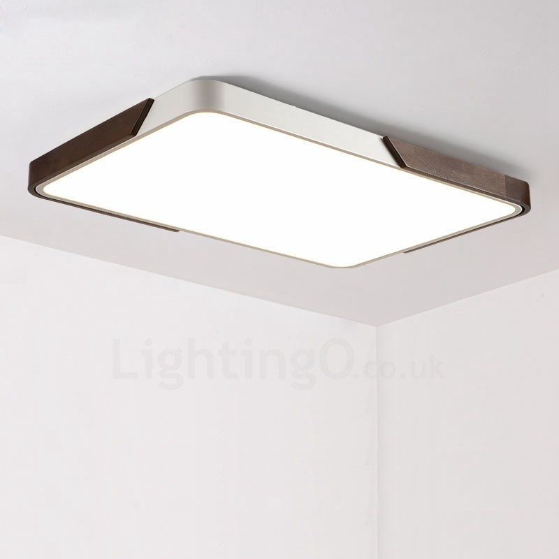 036eeeaaa010 Retro Walnut Colour Wood Ultra-Thin Rectangle Dimmable LED Flush Mount  Ceiling Lights with Acrylic ...