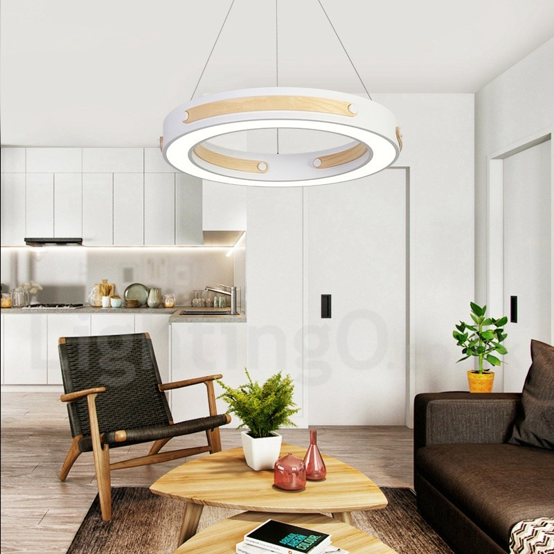 Multi Wood Colours Ring Modern Contemporary Pendant Lights With Acrylic Shade For Living Room Dining Room Storeroom Bedroom Hotel