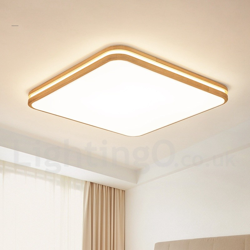 Details about Modern Wood Metal Chandelier Pendant Lamp Shade Ceiling Lights Fixture Square