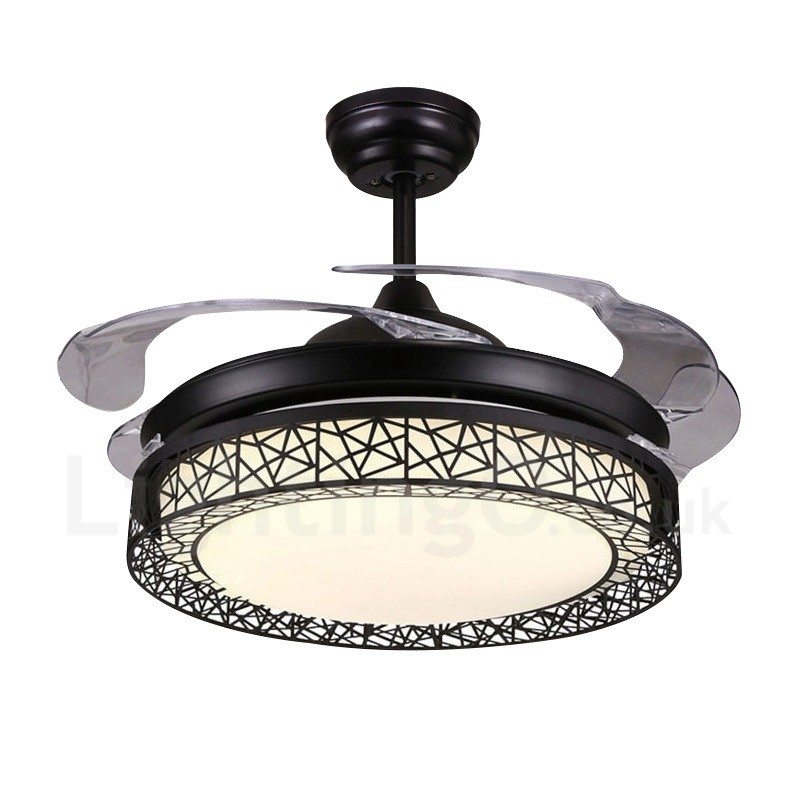 108cm 42 91cm 36 Modern Contemporary Remote Control Hollow Ceiling Fan Light With Acrylic Shade Mute Pure Copper Motor Lightingo Co Uk