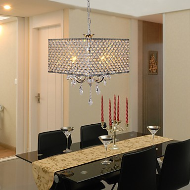 Max 60W Modern/Contemporary / Drum Crystal Painting Metal Chandeliers Living Room / Bedroom / Dining Room