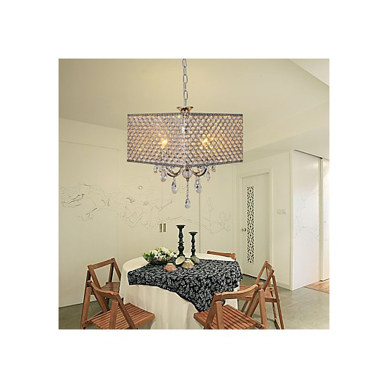 Painting Dining Room Chandelier: Max 60W Modern/Contemporary / Drum Crystal Painting Metal