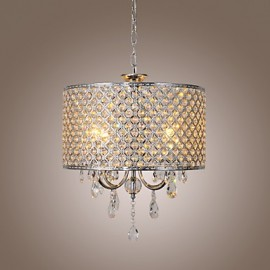 Drum Chandelier Crystal Modern 4 Lights Pendant Lamp