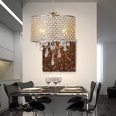Drum Chandelier Crystal Modern 4 Lights Pendant Lamp