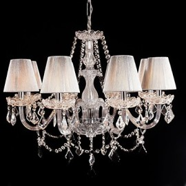 Chandelier Crystal Luxury Modern Living 8 Lights with Fabric Shade