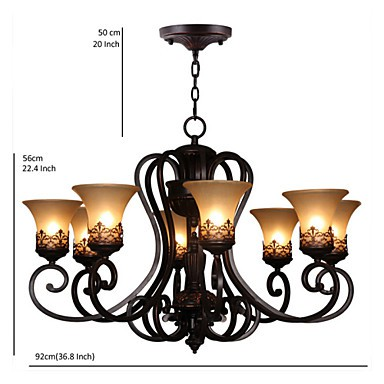 Chandeliers/Pendant Lights/8 Lights/ Vintage/Country/Island Living Room/Bedroom/Dining Room/Metal+Glass