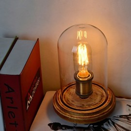 Modern Fashion Wood Table Lamp Glass Bell Jar Wooden Table Lamp Bedroom Bedside Style