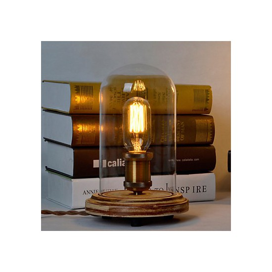 Modern Fashion Wood Table Lamp Glass Bell Jar Wooden Table