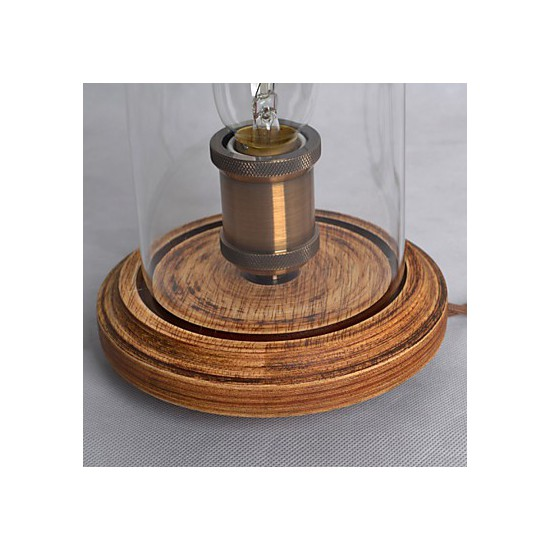 modern fashion wood table lamp glass bell jar wooden table lamp bedroom bedsi. Black Bedroom Furniture Sets. Home Design Ideas