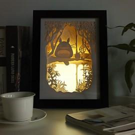12W 23*23*6CM Christmas Present Novel 3 D Sketch Paper Carving Lamp Creative Mural Frame Lamp Light Led
