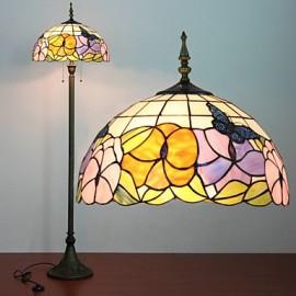 Flower Pattern Floor Lamp, 2 Light, Resin Glass Painting Process