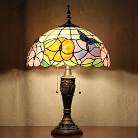 Butterflies Pattern Table Lamp, 2 Light, Resin Glass Painting