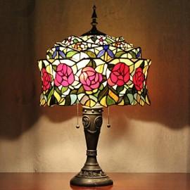 Mongolian Yurt Design Table Lamp, 2 Light, Resin Glass Painting