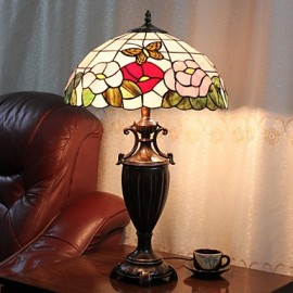 Table Lamp, 2 Light, Chic Resin Glass Painting