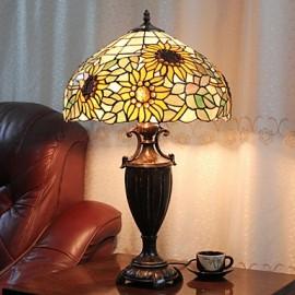 Sunflower Decoration Table Lamp, 2 Light, Resin Glass Painting