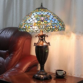 Table Lamp, 2 Light, Exotic Resin Glass Painting