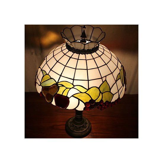 Crown Design Table Lamp 2 Light Resin Glass Painting
