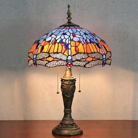 Butterflies Decoration Table Lamp, 2 Light, Resin Glass Painting