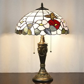Floral Pattern Table Lamp, 2 Light, Resin Glass Painting