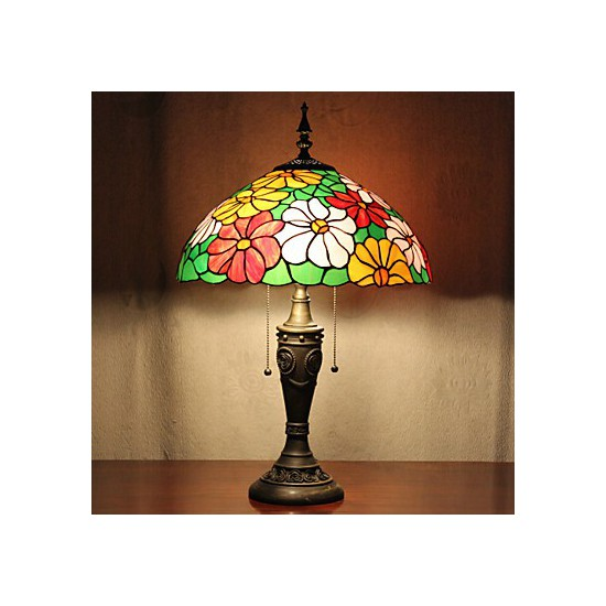 Flower Design Table Lamp 2 Light Resin Glass Painting