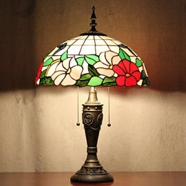 Table Lamp, 2 Light, Nature-Inspired Resin Glass Painting