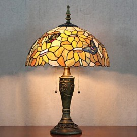 Floral Shade Table Lamp, 2 Light, Resin Glass Painting