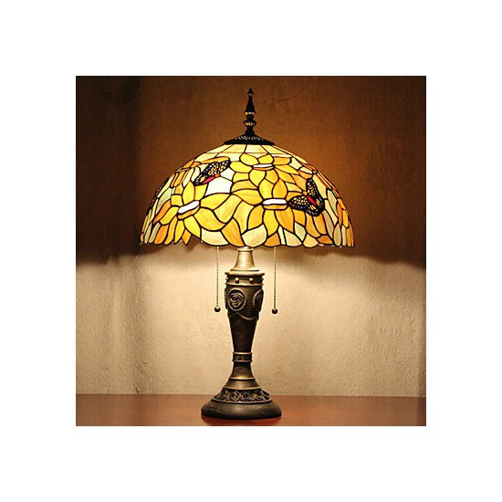 Floral Shade Table Lamp 2 Light Resin Glass Painting