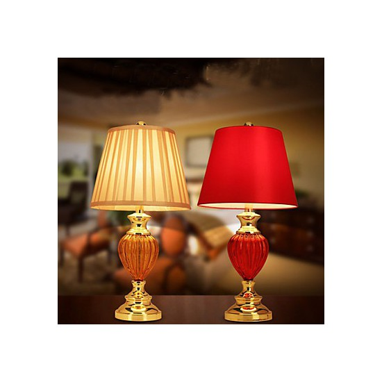 Simple European Style Wedding Lamp Glass Red Bedroom