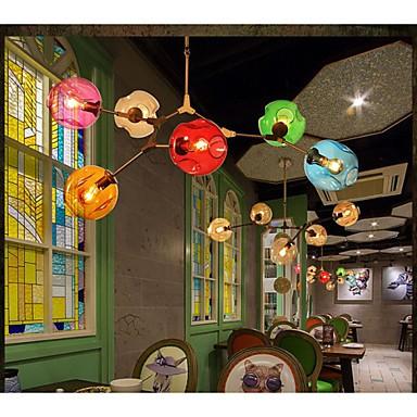 Art Color Glass Bulb Pendant Living Room Dining Room 6 Light  Chandeliers