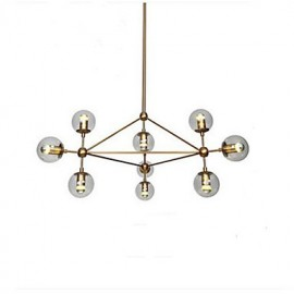 Golden Beans Chandelier 10 Light with Glass Shade