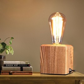 Nordic Mediterranean Style Fumigated Wood Desk Lamp For