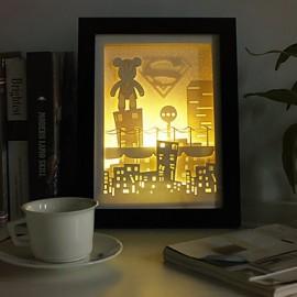 23*23*6CM Christmas Present Novel 3 D Sketch Paper Carving Lamp Creative Mural Frame Lamp Light Led