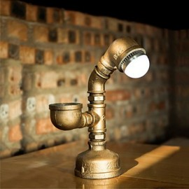 2015 Industrial Steampunk Custom Desk Pipe Lamp Led Bulb Working Valve Switch Vintage Water Pipe Metal Iron Light-B013