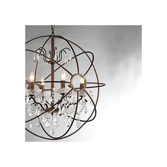 Painting Dining Room Chandelier: MAX:60W Vintage Crystal Painting Metal Chandeliers Bedroom