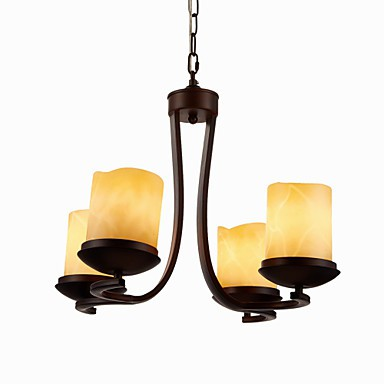 Iron Painting Chandelier with Glass Shade Classic Candle Lighting Lamp 4 Heads